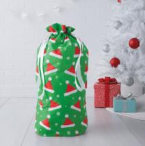 """NEW 18""""x 28"""" Christmas Santa Claus Hats Green Flocked Gift Bag Drawstring Sack"""