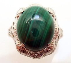 14K Gold Oval Genuine Natural Malachite Filigree Ring (#2900) - $384.75