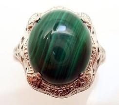 14K Gold Oval Genuine Natural Malachite Filigree Ring (#2900) - $384.75