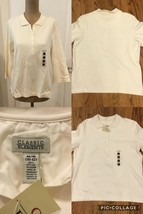 NEW! Classic Elements Ladies Shirt Size Med (10-12) Cream 100% Cotton 3/... - $6.92