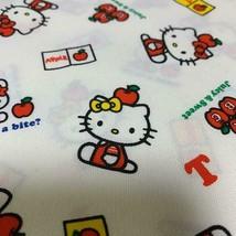 Vintage Sanrio Hello Kitty Fabric 0.5 Yards Cotton White Retro Apple Book New - $44.00