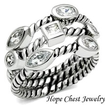 Stackable Rings - Stainless Steel Bezel Setting Rope Band 3 Ring Set Size 5 - 10 - $21.14