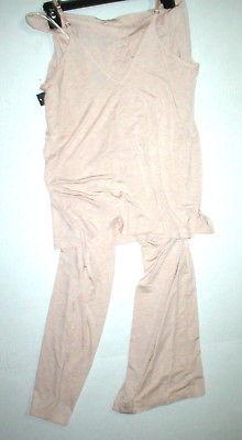 NWT New Designer Natori Pajamas Pink Tan Beige Womens PJ M Cami Pants Top Set image 7