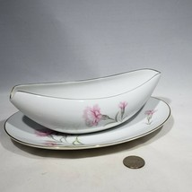 Royal Court Fine China Carnation Gravy Boat with Underplate Plate Japan ... - $14.95