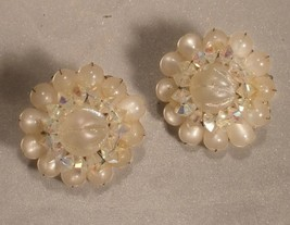 Hobé White and Iridescent Bead Clip On Earrings - $10.00