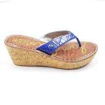 Sam Edelman Romy Blue Flip Flop Womens Wedge Sandals Size 11 - $16.39
