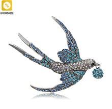 Brooches For Women Colorful Rhinestone Swallow Vivid Bird Animal Brooch Pin - $8.58