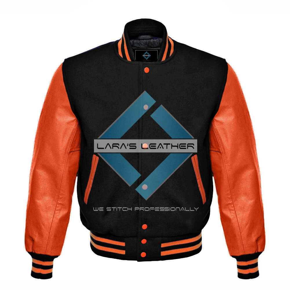 Primary image for Black Varsity Baseball Genuine Leather Sleeve Letterman College  Men Wool Jacket