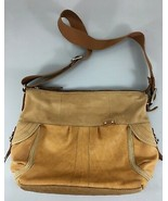Fossil British Tan Leather Cross-Body Shoulder Bag Handbag Canvas Strap - $47.53