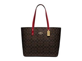 COACH Signature Town Tote Brown/True Red One Size