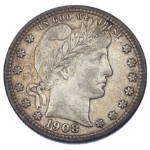 1908-D 25C Barber Quarter in VF Condition, Natural Color, Nice Toning! - $34.64