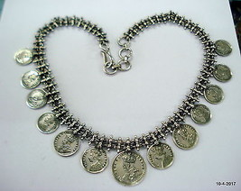 Traditional Design Sterling Silver Necklace coin necklace handmade jewel... - $365.31