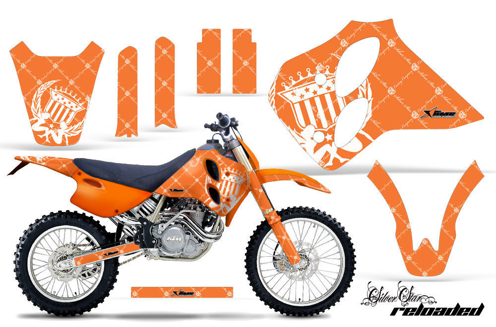 dirt bike decal graphic kit sticker wrap for ktm lc4 sx xc. Black Bedroom Furniture Sets. Home Design Ideas