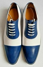 Handmade Men's Blue and White Two Tone Dress/Formal Oxford Leather Shoes image 4