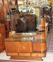 Antique Tiger Oak Art Deco Dresser / Mirrored Vanity 3 Drawer Bedroom Chest - $1,330.00