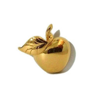 Vintage Monet Miniature Apple Pin Gold Color Costume Fashion Jewelry Classic - $11.30