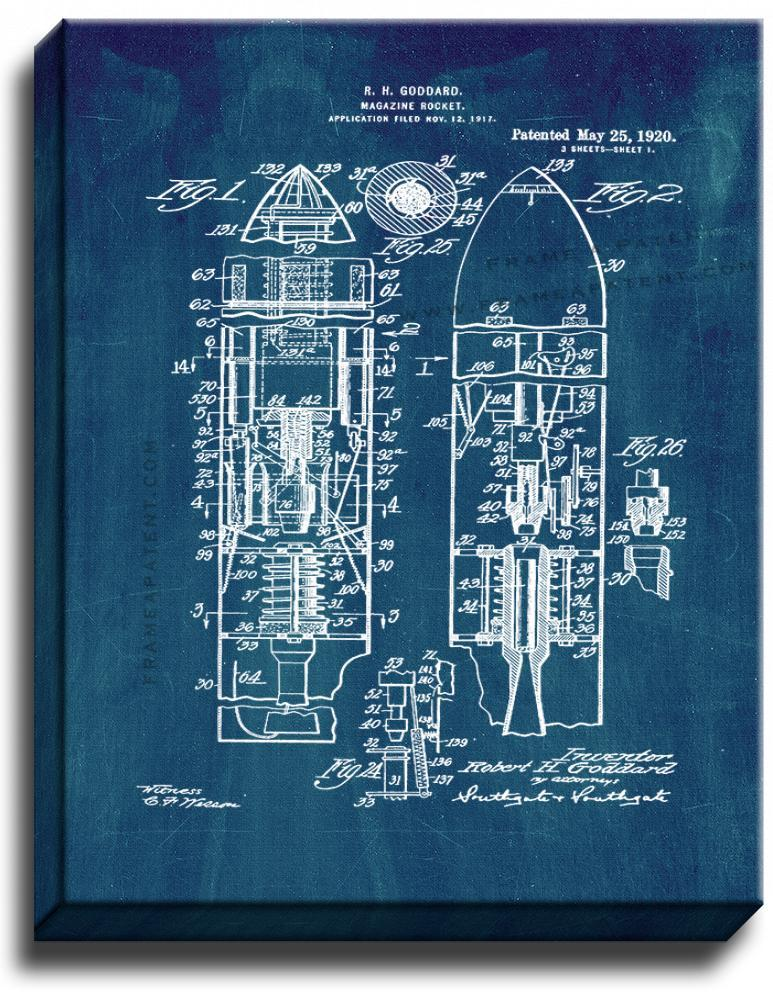 Primary image for Magazine-rocket Patent Print Midnight Blue on Canvas