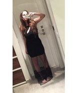 New With Tags! REHAB Black Sheer Mesh & Lace Cut Out Bodycon Maxi Dress ... - $30.38