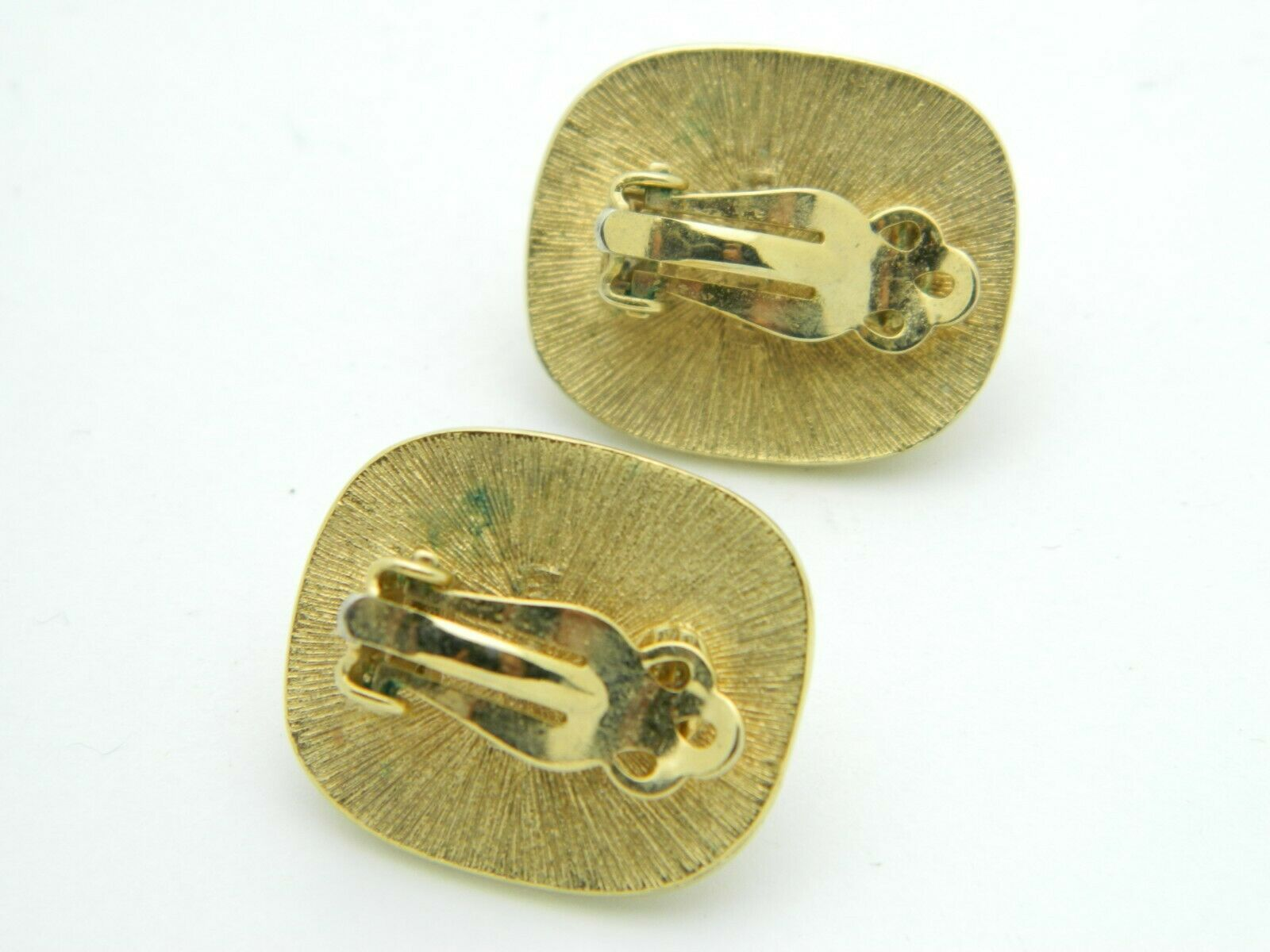 RICHELIEU Gold Tone Faux Pearl Rectangle Clip Earrings Vintage