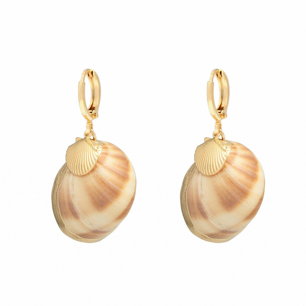 Primary image for Gold Real Shell Charm Earrings seashell beach boho fashion jewellery + Gift Box