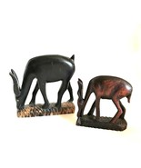 African Pair of Gazelles Vintage Hand Carved Wooden Figurines 4.5 inches... - $34.64