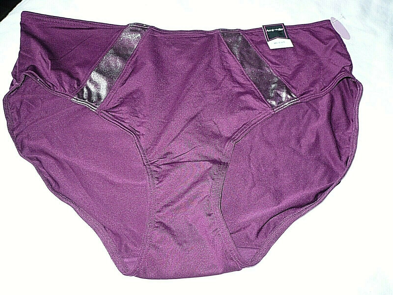 Primary image for Ambrielle Women's Hi-Cut Panty Size Medium/6  Pickled Beet 1 Pair Shimmer Insets