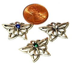 DAINTY Butterfly With Colored Crystal Fine Pewter Pendant Charm 23x16x3mm image 2