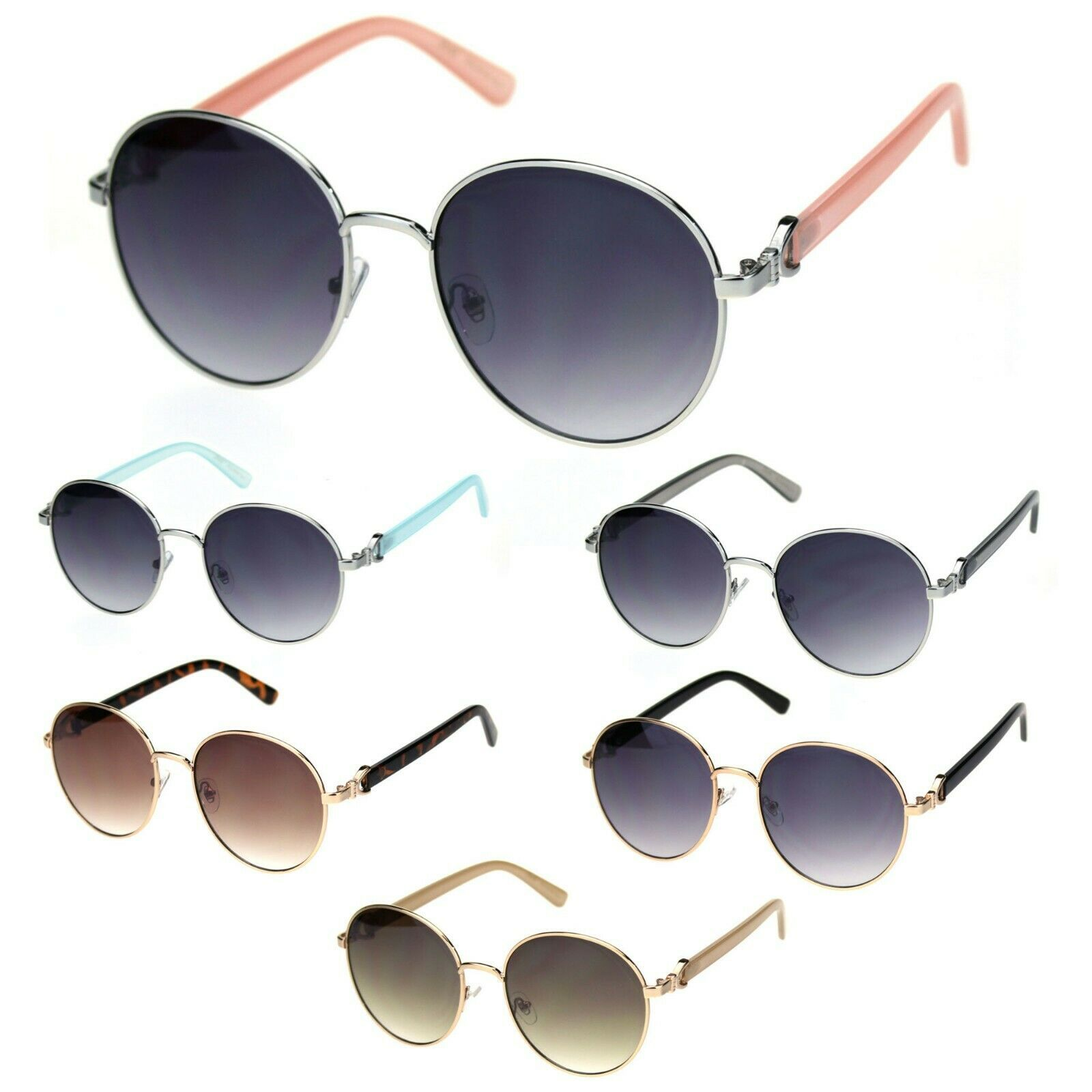 Giselle Womens Boyfriend Style Round Metal Rim Designer Sunglasses