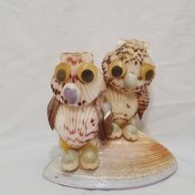 "Vintage Owls Sitting Sea Shells Figurine 4"" Brown Cream - $16.89"