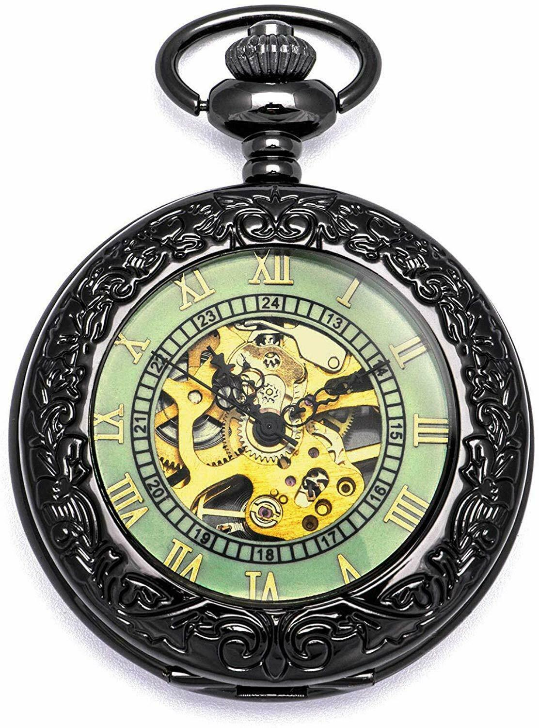 Primary image for Steampunk Vintage Luminous Roman Letters Skeleton Mechanical Pocket Watch with