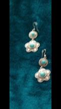 turquoise dangling earrings pierced - $24.99