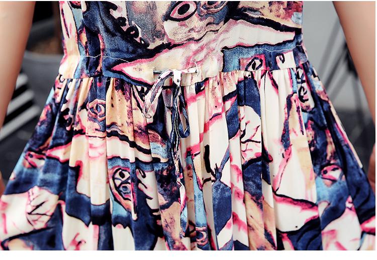 Saiqigui  Summer dress women dress casual Loose tow piece Cotton Line dress Prin image 5