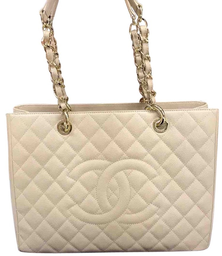 AUTHENTIC CHANEL QUILTED CAVIAR GST GRAND SHOPPING TOTE BAG BEIGE GHW