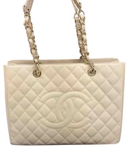 AUTHENTIC CHANEL QUILTED CAVIAR GST GRAND SHOPPING TOTE BAG BEIGE GHW - $2,399.99