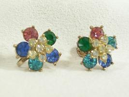 NEMO Flower Rhinestone Earrings Screw Back Pastels Floral Vintage Blue P... - $13.81