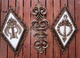 Set 3 Ornate Vintage Wall Hang Candle Holder Diamond Shape Decor Dart In... - $4.65