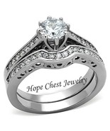 HCJ Stainless Steel 8 Prong Good Luck CZ Engagement & Wedding Ring SIZE ... - $20.24