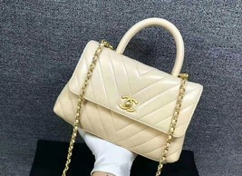 100% AUTHENTIC CHANEL CHEVRON QUILTED CALFSKIN BEIGE SMALL COCO HANDLE BAG GHW image 2