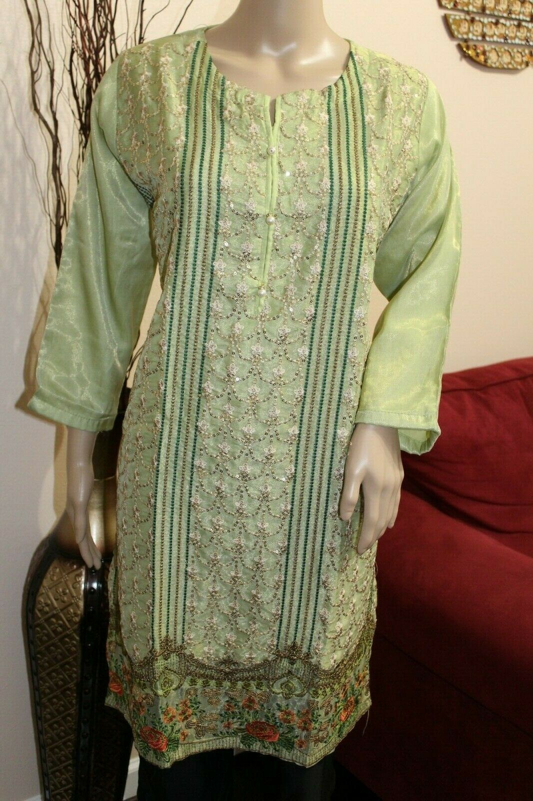 Primary image for Mint Green Pakistani Masoori Kurta Embroidery, Fancy Thread work Large