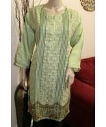 Mint Green Pakistani Masoori Kurta Embroidery, Fancy Thread work Large - $54.45