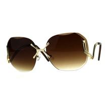 Gold Rimless Fashion Sunglasses Womens Designer Square Beveled Lens - $11.95