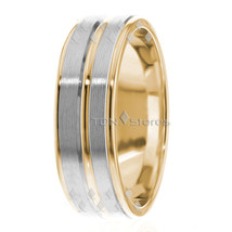 Mens Womens Two Tone 10K Solid Gold Wedding Band Rings His Hers Wedding Ring Set - $292.24