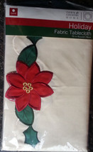 "Pointsettia Edged Ivory Christmas Tablecloth 70"" Round NIP Town Country ... - $36.18"