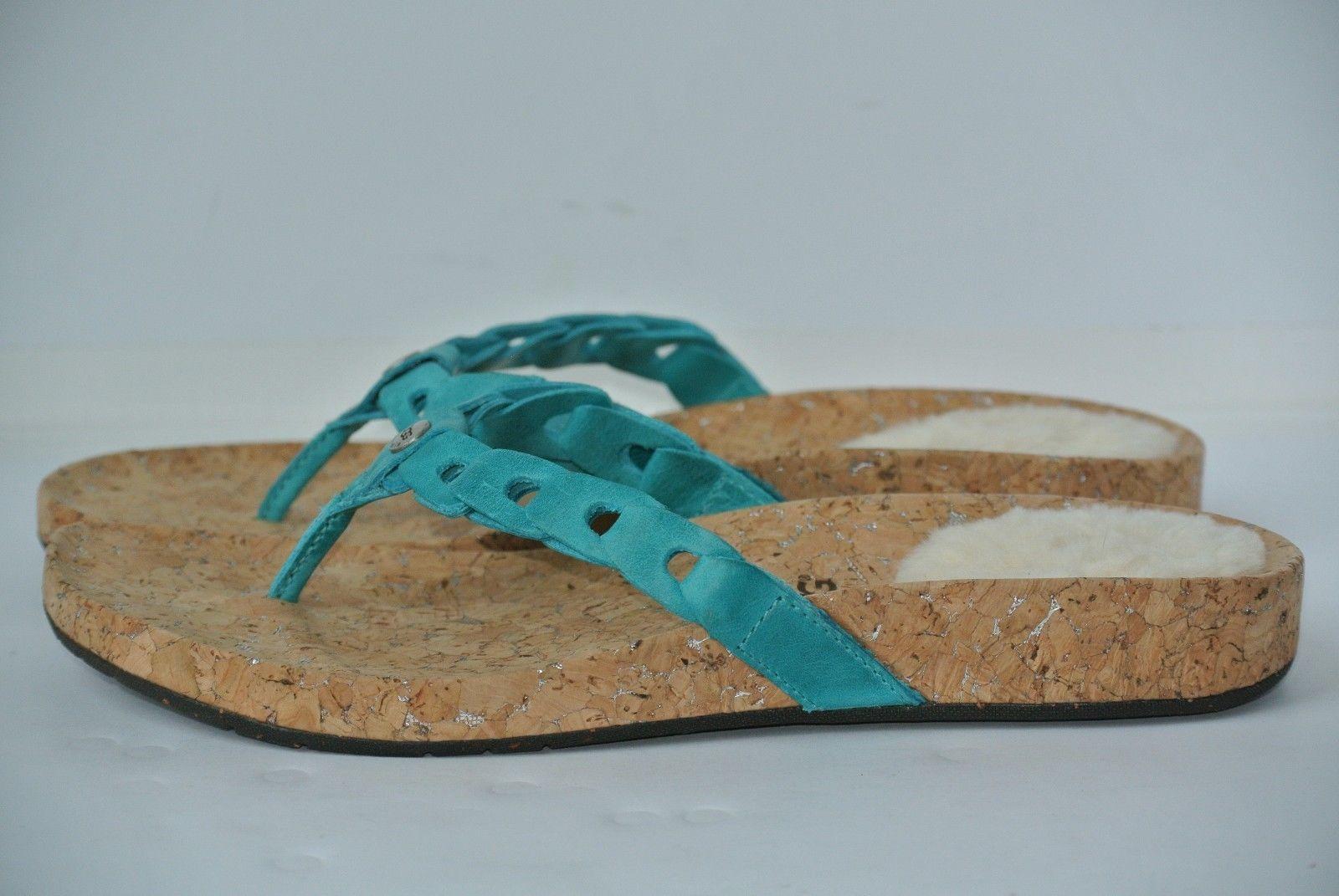 9615cbce2 UGG AUSTRALIA Womens Sz 8 Aqua Blue Leather Flip Flop Sandals 1804 WORN ONCE