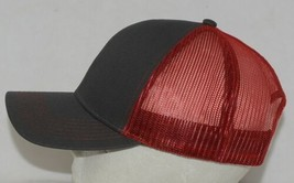 OC Sports Adjustable Snapback Style Mesh Back Red Charcoal Baseball Cap image 2