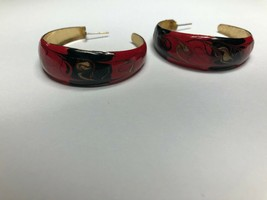 Vintage Costume Jewelry Earrings Hoops Red Black And Gold Tone - $3.74