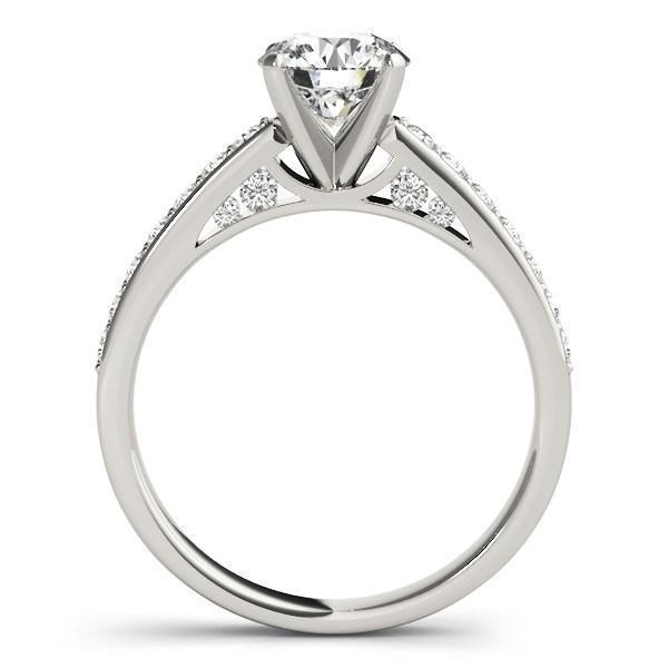 14k White Gold Single Row Prong Set Diamond Engagement Ring (1 3/8 cttw)