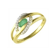 Ivy Gems 9ct Yellow Gold Tension Set Oval Cut Emerald Ring with Eliptica... - $651.49