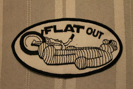 Vintage NOS Flat Out Bike Motorcycle Auto Vest Hat Jacket Sew On Patch - $5.99