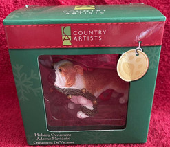 """COUNTRY ARTISTS PUPPY DOG w/Garland In Mouth 2010 CHRISTMAS ORNAMENT NIB 3"""" - $12.99"""